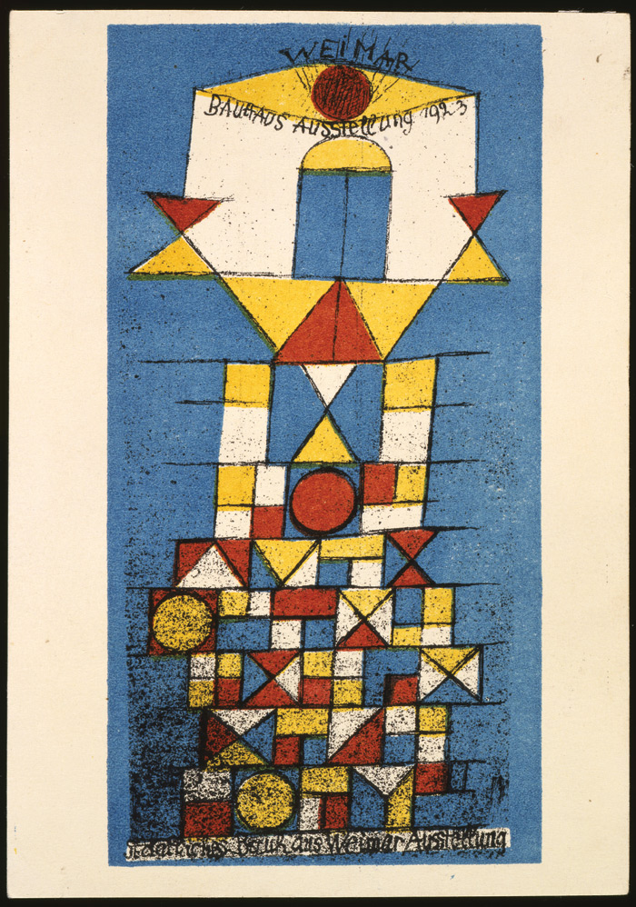 Postcard by Paul Klee produced for the exhibition at Weimar 1923