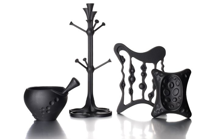 Kitchen accessories:  The company has designed and produced a range of cast-iron kitchen accessories, inspired by the fluid shapes of the art nouveau movement. Each has been made using the traditional method of sand casting. 'The Gaudí-inspired Pestle and Mortar was designed as part of BBC1's High Street Dreams with Jo Malone, and this led on to the other products in the range,' says Simon.