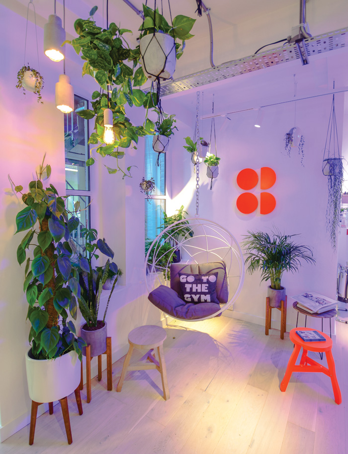 The use of plants in retail environments appeal particularly to wellbeing conscious younger shoppers. Here they are used in Sweaty Betty