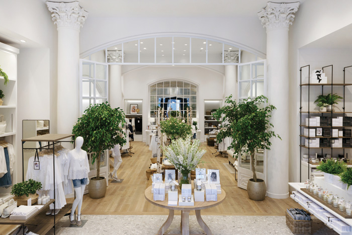 The White Company, with stores designed by Household, include living plants that give a feeling of natural wellness to displays. Photography: Jeff Russell