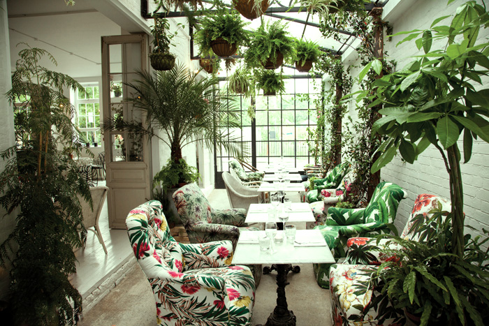 Architects from Red Deer went to town with the live plants in this Bourne & Hollingsworth brasserie in Clerkenwell. Photography: Jeff Russell
