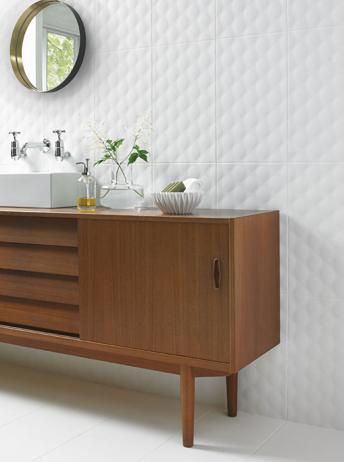 British Ceramic Tile has been working with Ted Baker to produce tactile and graphic tiles