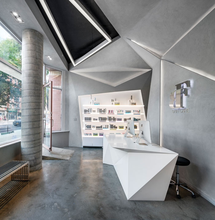 BFDO Architects in New York used polished concrete and Caesarstone lit with hidden LEDs in this retail space for the Dermalogica skincare brand