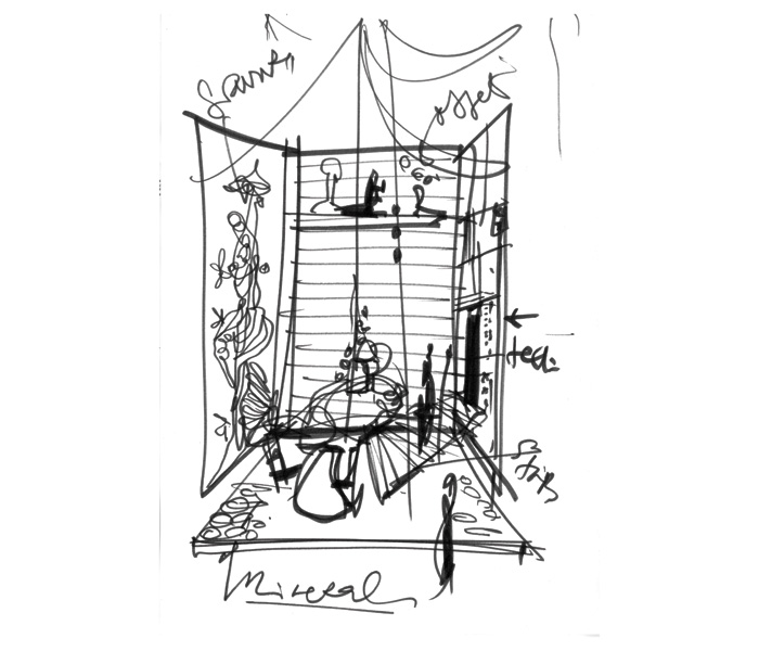 Sketch by Lacroix for an interior