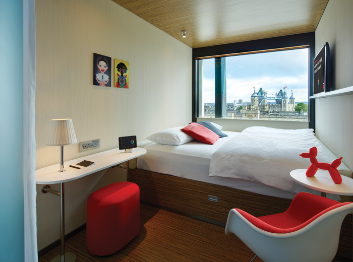 The compact 13 sq m modular bedroom has been developed to provide all the essentials required by guests, including exclusive views of the Tower of London