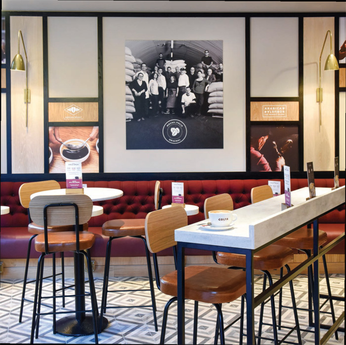 The Costa Coffee House is now a game of two halves: one space is a lounge area, again in two zones of different paces, all with interiors by Edge