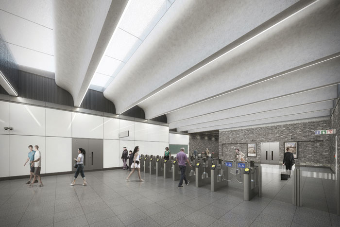 Ticket Hall at Woolwich Crossrail station, to a design by Weston Williamson