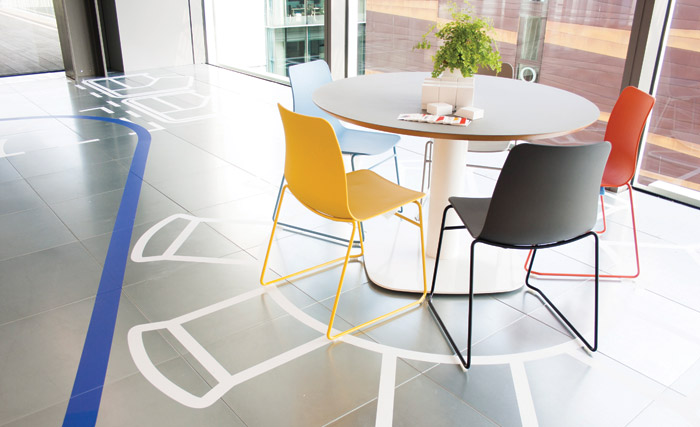 In a project for British Land Gensler used bold floor graphics to demonstrate distinct types of space
