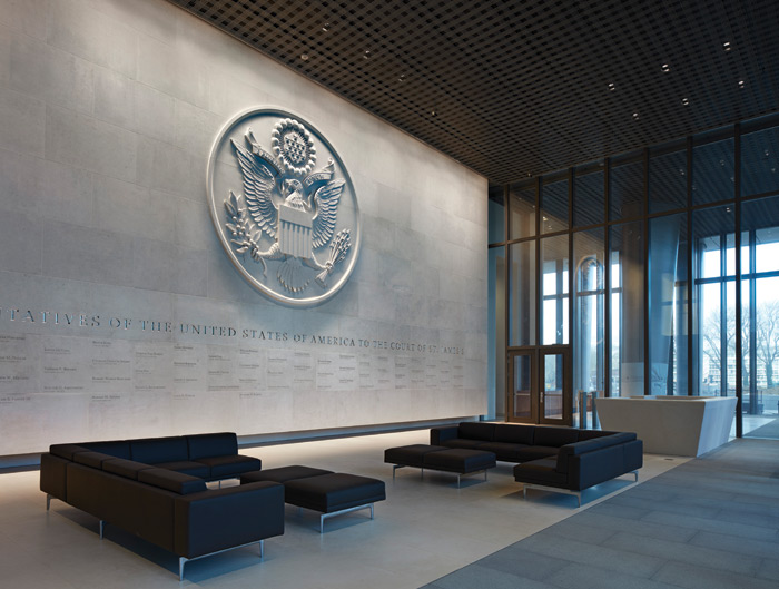 The US Embassy in London, designed by Kieran Timberlake, has robust security features but is intended to convey a sense of openness and democracy. Image Credit: Richard Bryant/Arcaidimages.Com