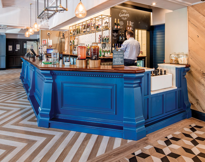 A mix of chevrons, parallelograms and hexagrams are among the 5,900 pieces of Moduleo Moods fitted to create a restaurant atmosphere
