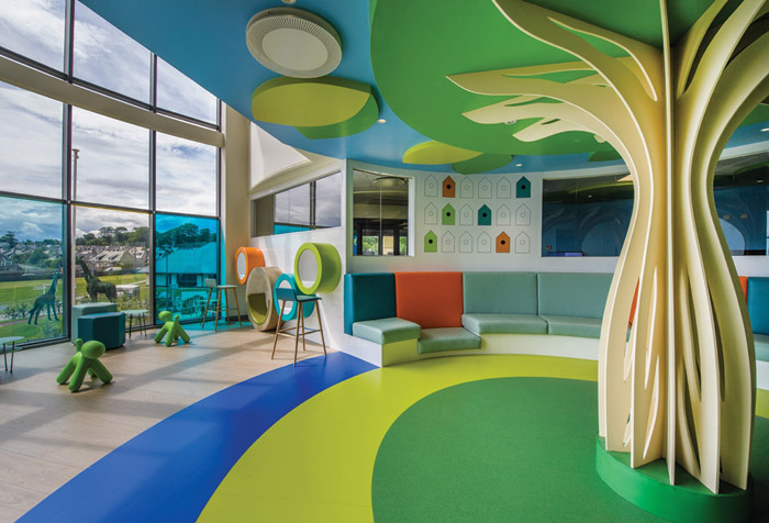 The choice of colours add to the room's serenity in the children's hospital
