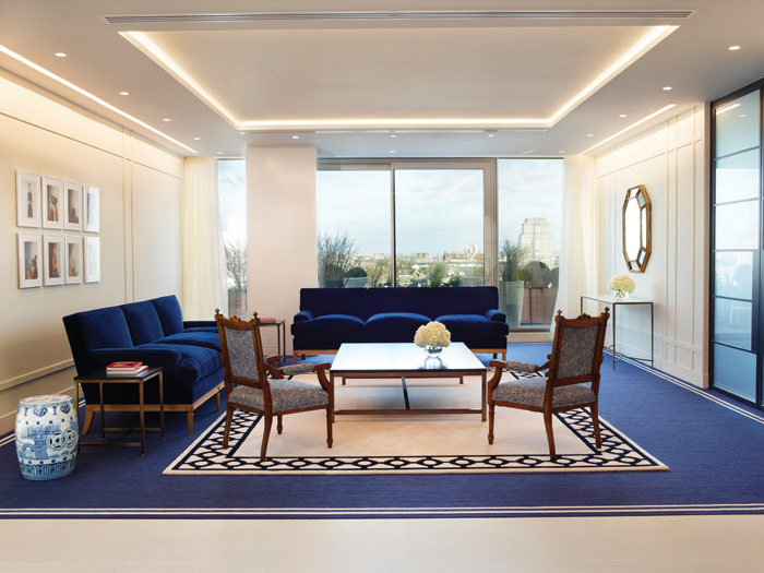 Estée Lauder's signature Blue Room, based of the original office of Estée Lauder and featuring in all of the company's buildings