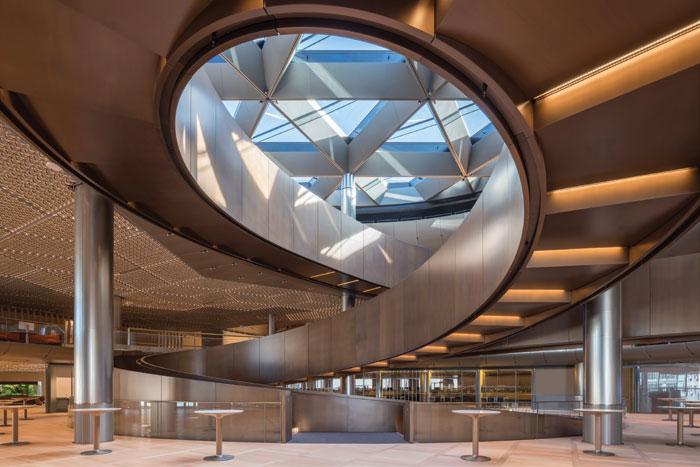The centrepiece of the new Bloomberg European HQ building in London is a spiralling ramp spanning some 213m and six floors