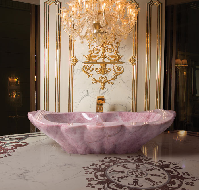 Luxury knows no bounds in the interiors, including baths by Baldi