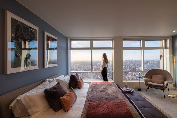 Room with a view – bedroom in the transformed Centre Point Tower