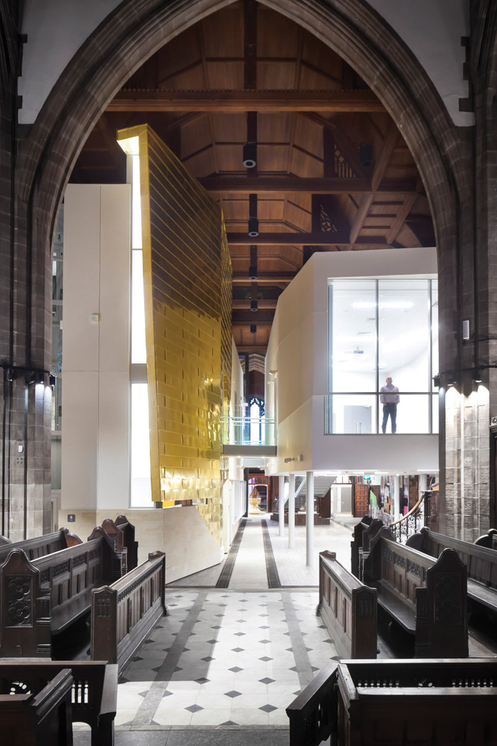 All Souls - In Bolton the surrounding Anglican community of this huge Victorian chruch has largely changed into a largely Muslim one. Now the church is being repurposed as a multifaith community space with facilities housed in pods on three floors