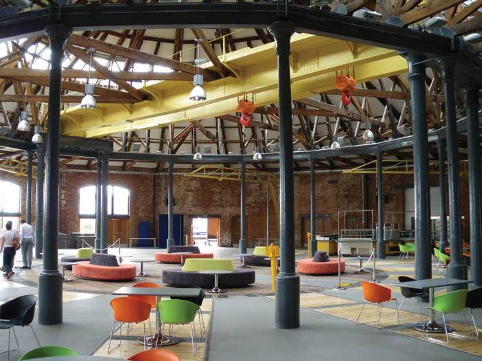 DERBY ROUNDHOUSE - Once a roundhouse for turning trains around, the building was derelict and at risk before being taken on by Derby University. It is now the student hub
