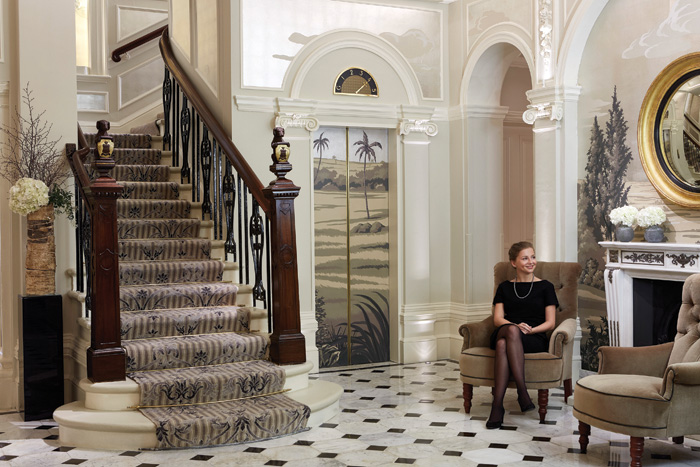 The front entrance staircase at The Goring hotel, London