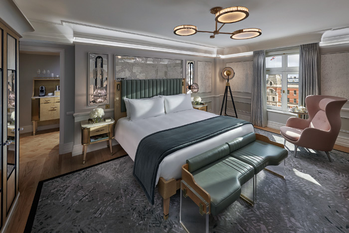 Guest room at the Mandarin Oriental London, where scene setting and dimmable lighting is offered