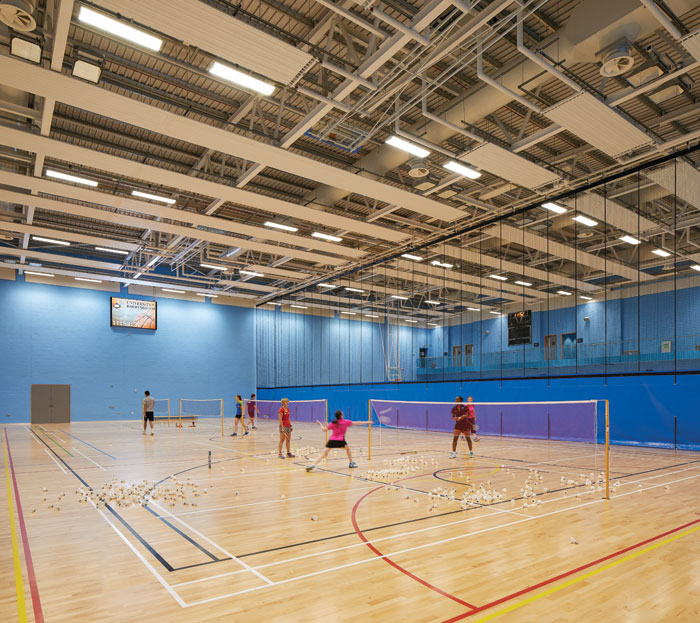 The sports hall offers facilities for a variety of sports, including badminton and basketball