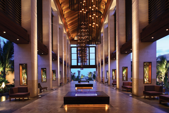 Grand Lobby at The Cove, a boutique hotel within the larger Atlantis resort in The Bahamas. Courtesy of Jeffrey Beers International