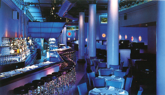 Bar Lui, Beers' first solo commission, opened as the longest restaurant in Manhattan in 1985. Courtesy of Jeffrey Beers International