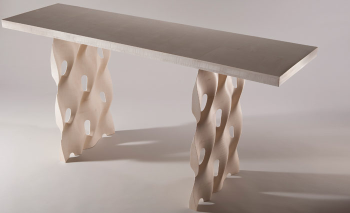 The Undulate table, in Sycamore