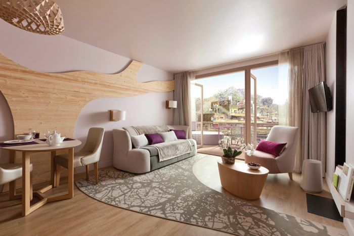 Three levels of accommodation are offered, here Cocoon VIP, designed by Ana Moussinet