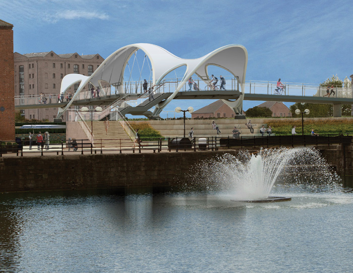 Princes Quay Bridge, Hull: 'Working with Arup we have designed a new pedestrian bridge and large public space in city centre. It is scheduled to start construction once the 2017 City of Culture celebrations are over.' It will be the second bridge for Hull, with McDowell previously responsible for the award-winning Scale Lane Bridge.