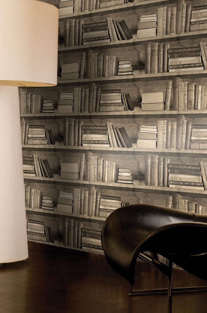 Bookshelf Wallpaper, here in Sepia