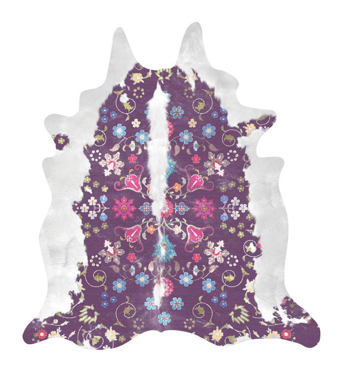 Gypsy rug, in purple, printed on to a vegan 'hide'