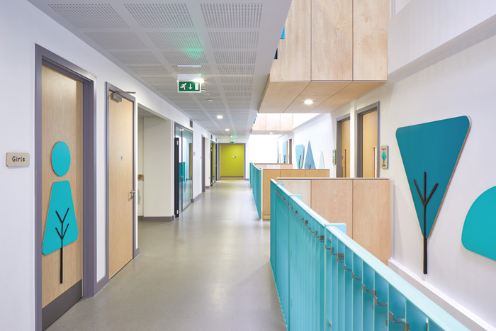 The interior of the school has a pale, Scandinavian look with the use of birch- faced plywood, complemented with splashes of bright lime and aqua and bold graphics in teal and green