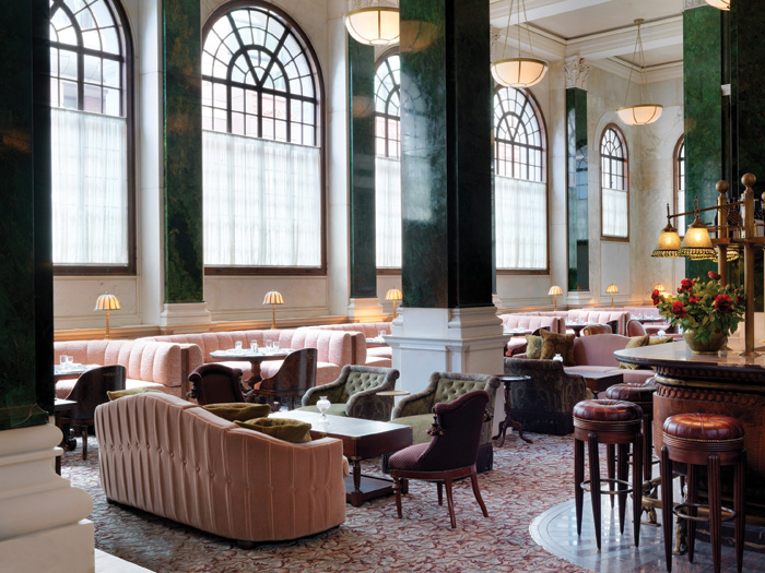 In Millies lounge, original marble-clad pillars and large arched windows link back to the more formal ambience of yesteryear