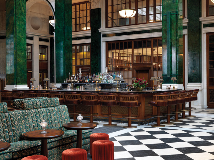 In the Nickel Bar, the original black and white chequerboard floor was recreated from archive photography