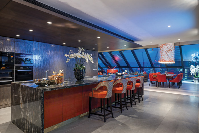 Red and flame orange are used in the dining and entertainment areas