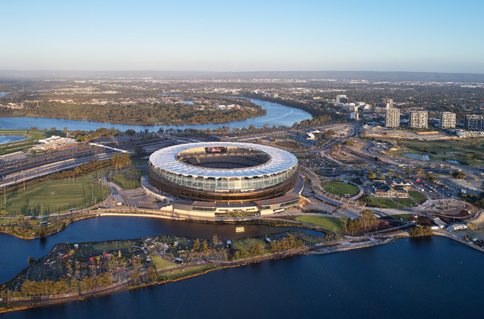 The new stadium sits in the oxbow curve of the Swan River