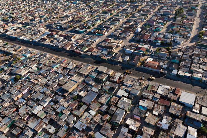 Aerial view of a Cape Town shanty town show the severe space constraints