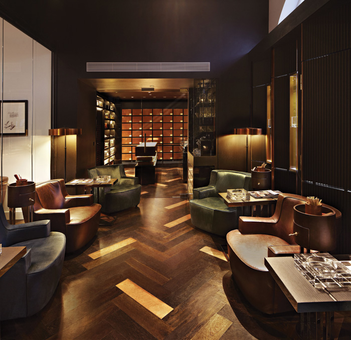 Household created a brand home for Dunhill Tobacco at 1A St James's, Mayfair. It includes a sampling lounge where guests can try cigars, and 56 copper humidors, where regular customers' personal cigars are kept in optimal conditions
