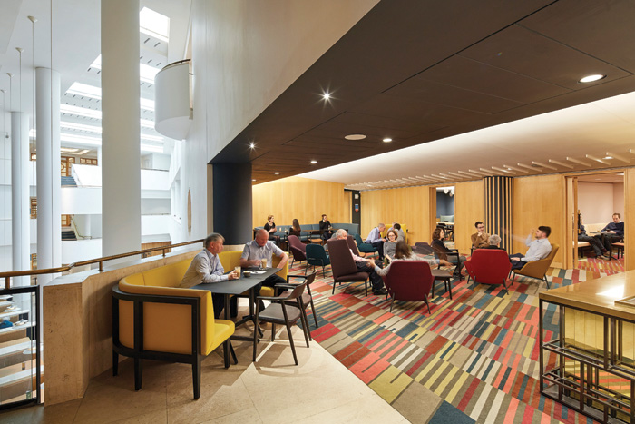 For the British Library's new Members' Rooms, Matos de Ryan was tasked to provide an aesthetic language that embraced ethos, materiality of architectural detailing of the iconic building. Photo Credit: Hufton+Crow