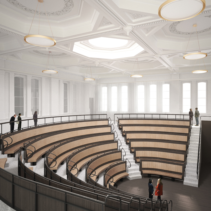 The RA's new double-height lecture theatre that seats 250: its first lecture was due to be delivered this month by David Chipperfield. Image Credit: Francis Ware