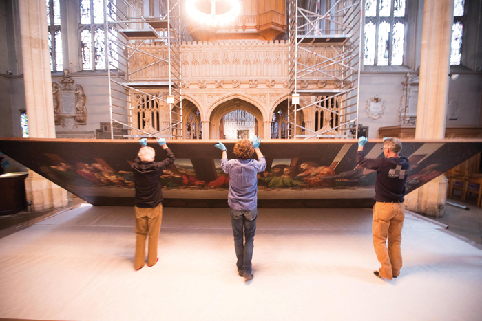 The Last Supper at Magdalen College, Oxford is dismantled. Image Credit: Royal Academy of Arts, London