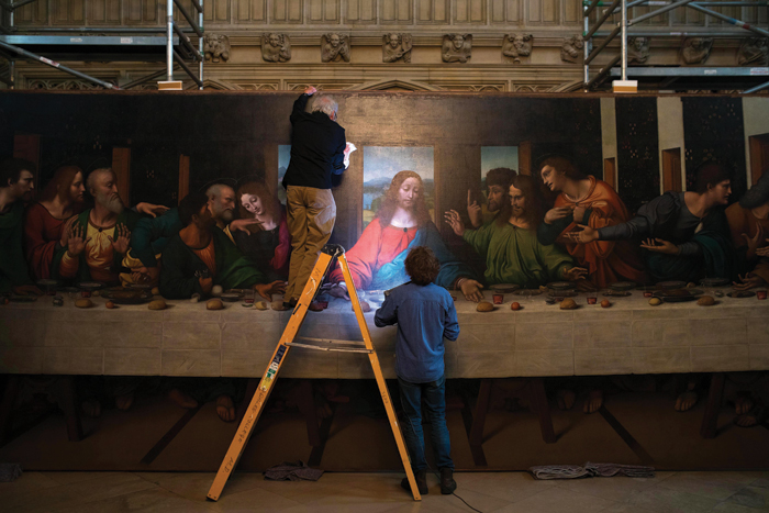 The condition of the Last Supper at Magdalen College, Oxford is examined. Image Credit: Royal Academy of Arts, London