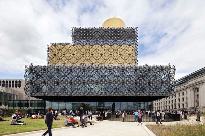 The 35,000 sq m Library of Birmingham created by Mecanoo includes workshops, staff accommodation and a 300-seat auditorium with foyer, shared by both the library and the adjoining repertory theatre. A cantilevered volume provides shelter at the entrance and serves as a grand balcony with a discovery garden. The brightly coloured children's area includes a performance space. Image Credit: Harry Cook