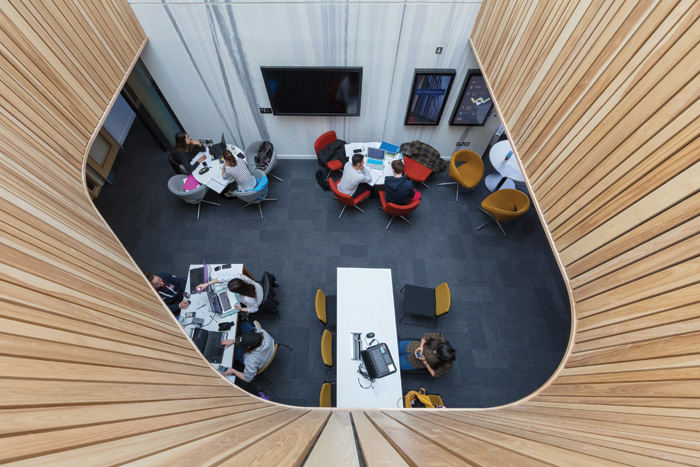 Bird's-eye view of social learning space from the first floor