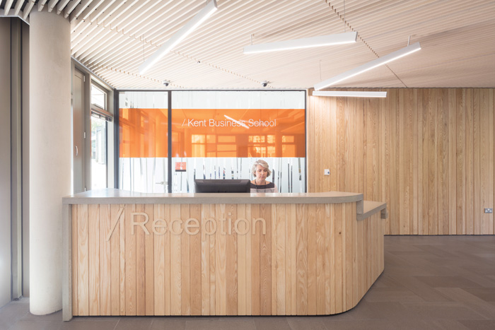 The two schools (business and maths) each have their own dedicated receptions, here for the Kent School of Business