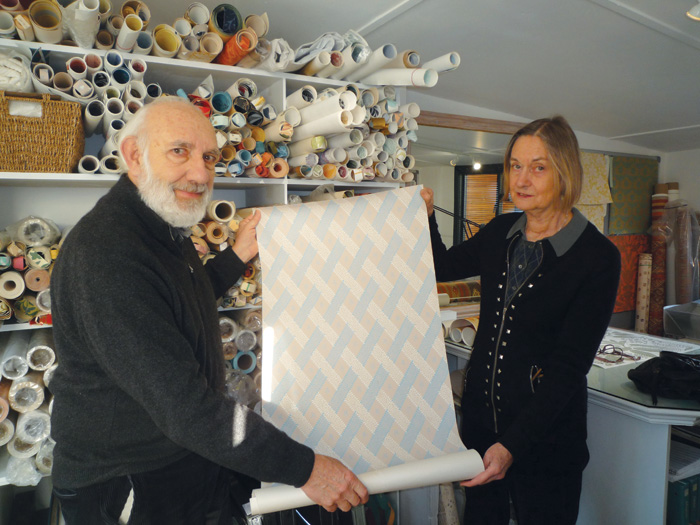 Robert Weston and Georgina Hamilton examine one of the papers they recreated for the Jane Austen's House Museum. The original was a faulty batch that would have been sold off cheaply.