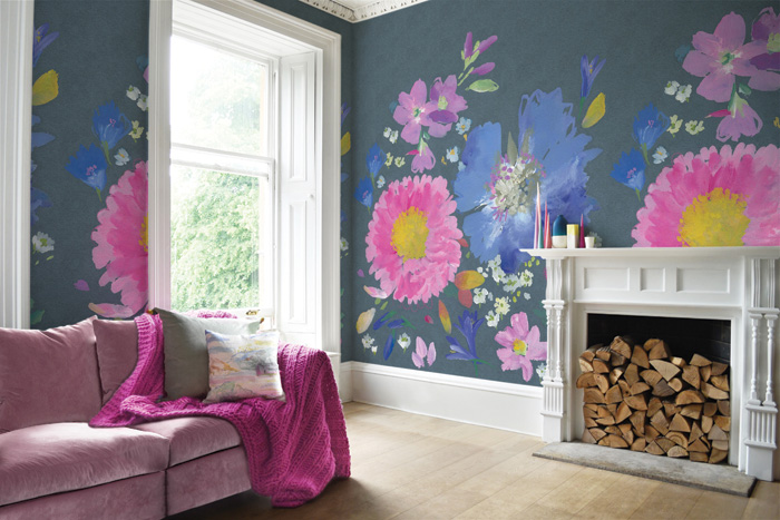 Bluebell Gray uses 70cm-wide wallpapers to create interesting whole-room mural effects like this Kippen pattern. bluebellgray.com