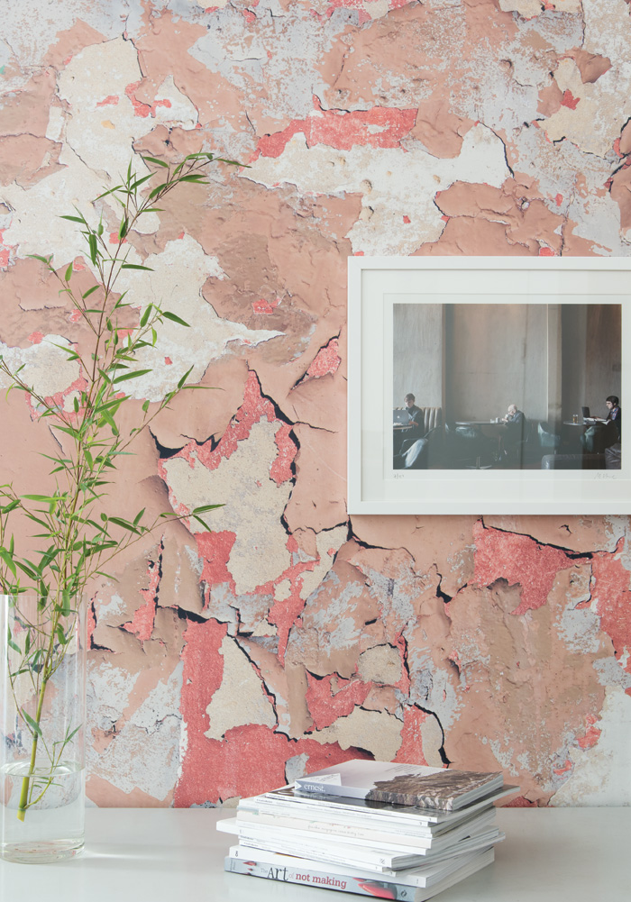 Peeling Paint by Ella Doran hits two trends at once – it comes in extra wide 110cm rolls and it captures an architectural finish in a flat paper.