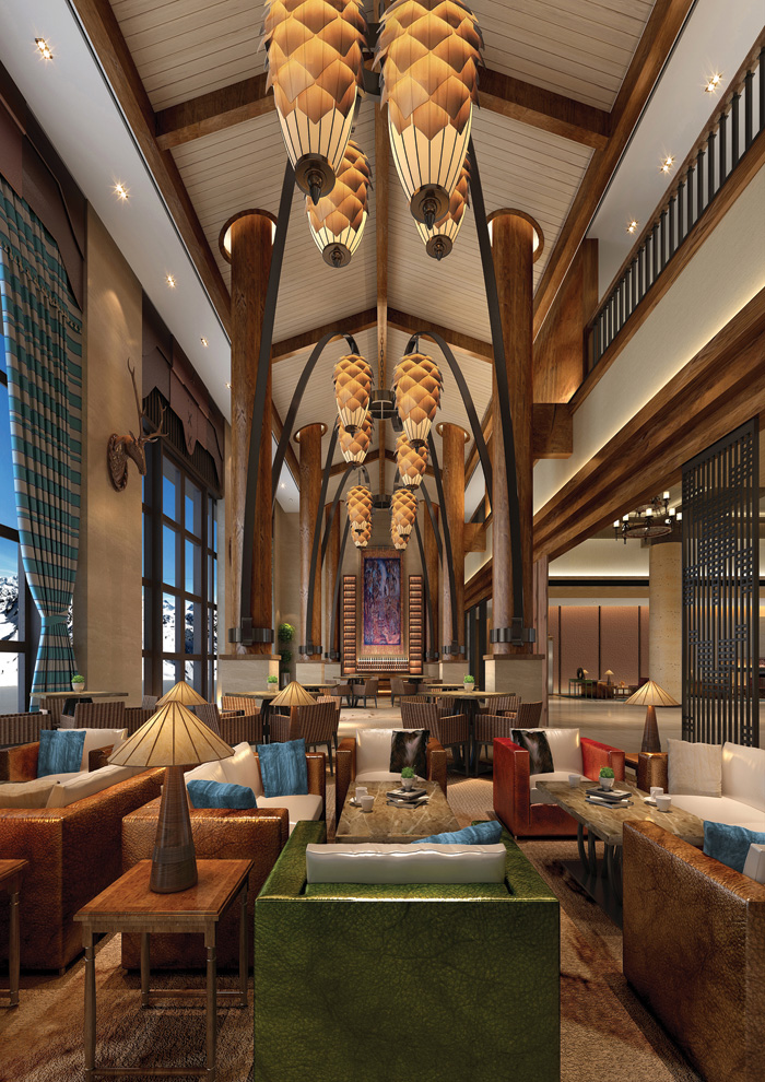 The hotel's lounge features elements of the forest