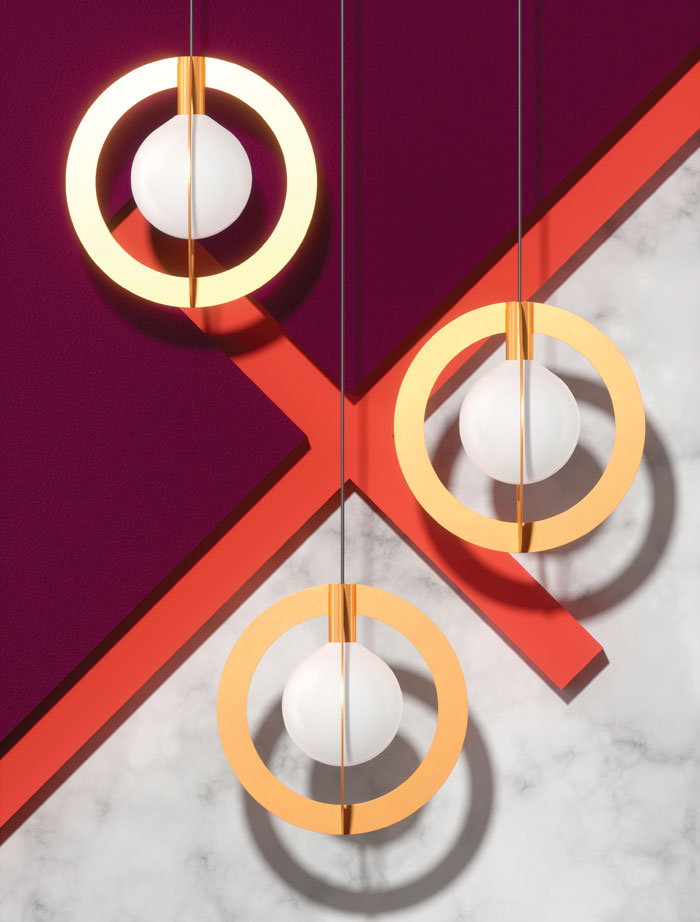 Diaradius: Part of the Suprematic range, this product 'complements' the sphere of product Point with a suspended form that 'allows the very fine tuning' of the final look of the light. 'We are just going to have some fun and continue development of Suprematic,' says Litz.